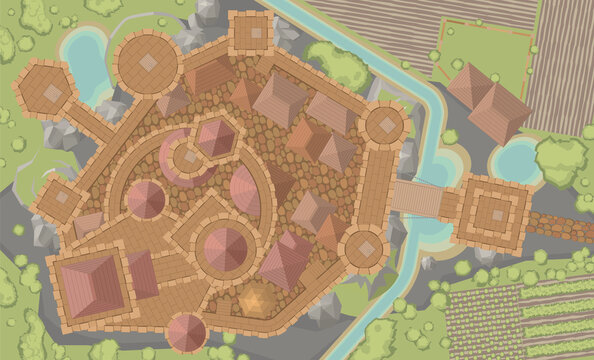 Vector illustration. Castle top view. Fortress view from above.