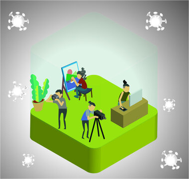 People are working from home protection from Covid-19 atmosphere. Isometric style