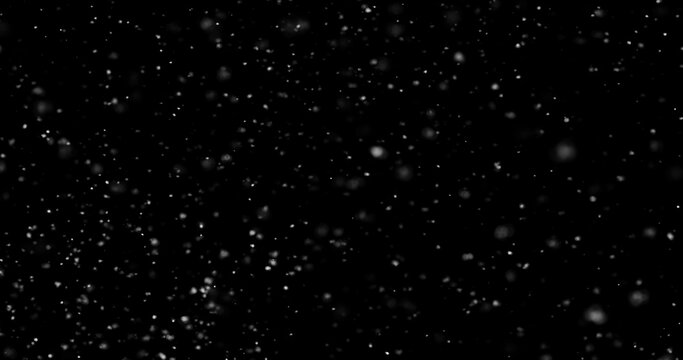 abstract Flying dust particles on a black background