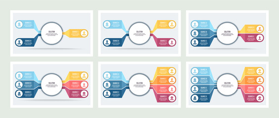 Business infographic. Organization chart with 3, 4, 5, 6, 7, 8 options. Vector template.