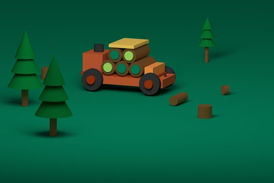 Toy truck with trees 3d rendering illustration