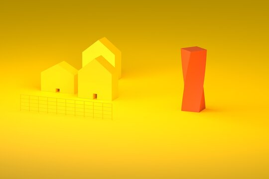 Yellow farm with red modern building 3d rendering illustration