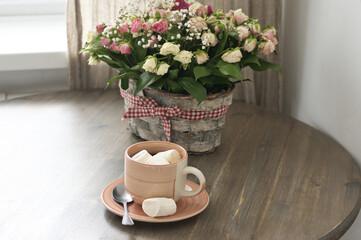 Breakfast with flowers bouquet