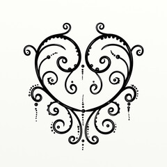 Fototapeten Klassische Abstraktion symmetrical decorated heart for fun prints