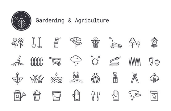 Gardening, horticulture, landscaping thin line vector icon set. Soil cultivation, garden work tool, plant growing pictogram. Design elements for web interface, mobile app isolated on white background.