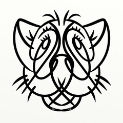 Fototapeten Klassische Abstraktion Cute symmetrical big cat for funny prints