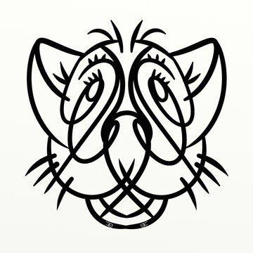 Cute symmetrical big cat for funny prints