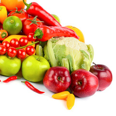 Wall Mural - Set of fresh vegetables and fruits isolated on white