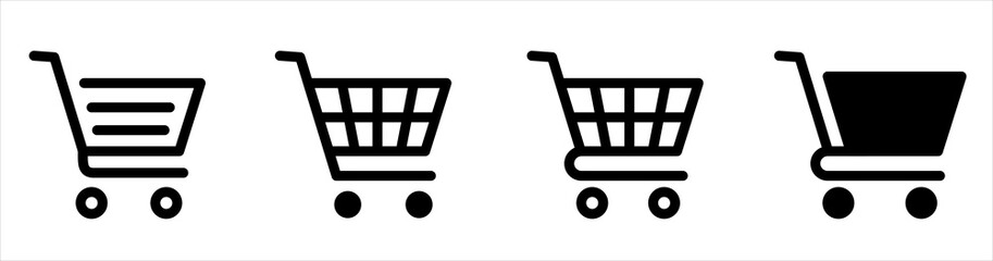 Shopping cart line and flat icon. Full and empty shopping cart. Editable stroke isolated on white background.