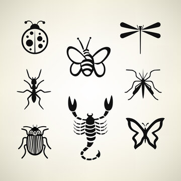 insects set vector illustration bee, scorpion, ant, mosquito, butterfly, dragonfly and colorado beetle