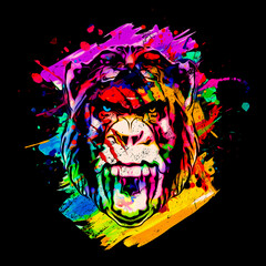 Colorful artistic monkey with colorful paint splatters on black background