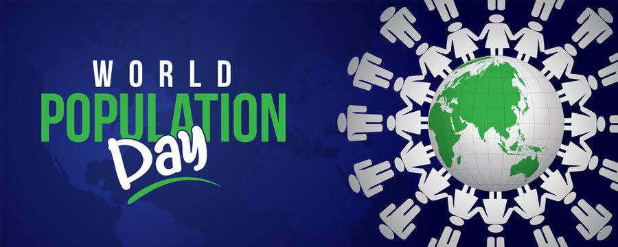 World population day, 11 July. Vector illustration, banner or poster