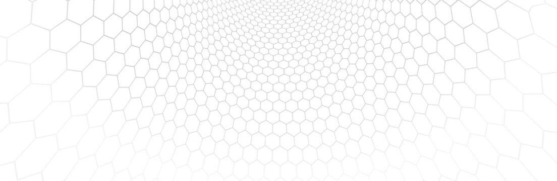 Technology vector abstract background with hexagons mesh, 3D abstraction of nanotechnology and science, electronics and digital style, wire net dimensional perspective.