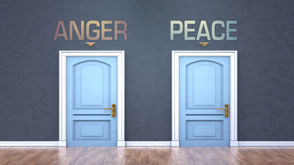 Anger and peace as a choice - pictured as words Anger, peace on doors to show that Anger and peace are opposite options while making decision, 3d illustration
