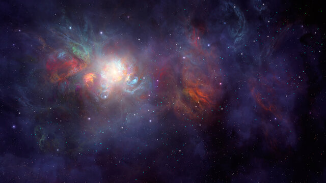 Space background. Colorful fractal nebula with star field. Elements furnished by NASA. 3D rendering