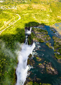 It's Amazing air view of the Victoria Falls, Zambia and Zimbabwe. UNESCO World Heritage