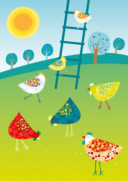 Vector illustration of colored happy hens.