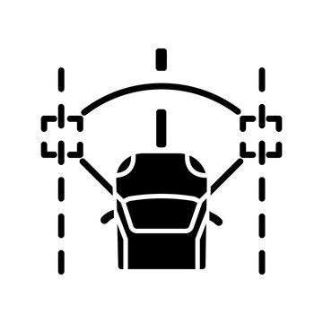 Lane keeping assist black glyph icon. Modern safety driving technology, smart driver assistance silhouette symbol on white space. Lane departure warning and control. Vector isolated illustration