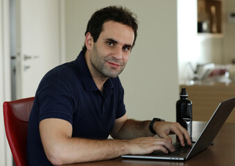 Lebanese film maker Jimmy Keyrouz is pictured at his home in Naccache