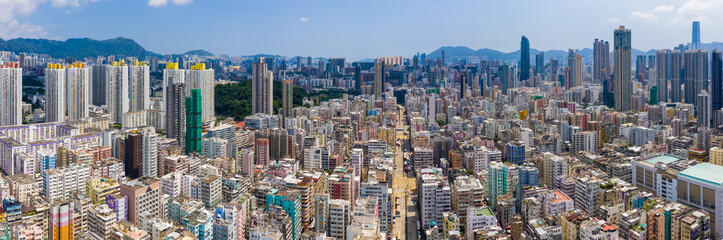 Drone fly over Hong Kong city Fotomurales