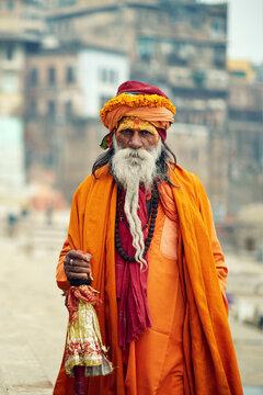 Portrait of Indian Sadhu baba. Varanasi