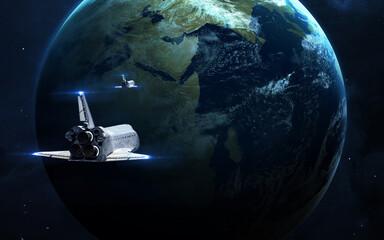 Wall Mural - Spaceships near Earth planet