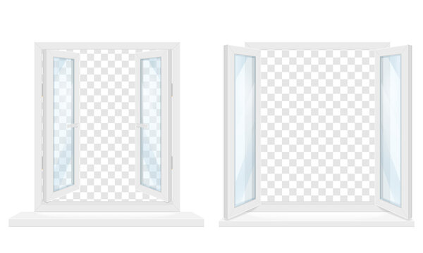 white transparent plastic window with window sill vector illustration