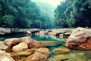 Rainforest landscape. Cherrapunji the wettest place on earth placed in northeast India Fotomurales