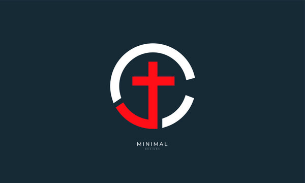 Alphabet letter icon logo  CJ or JC with a Cross in the middle