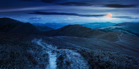 path through mountain range at night. grass on the hills and slopes. summer landscape in full moon light. panoramic view