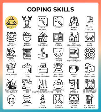 Coping skills concept line icons