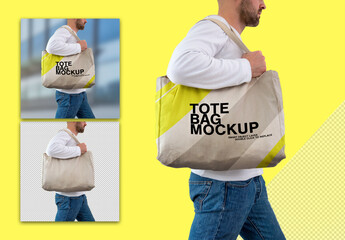 Mockup of Person Carrying a Tote Bag