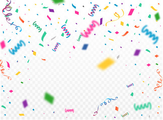 Celebration background template with confetti and colorful ribbons. Vector illustration
