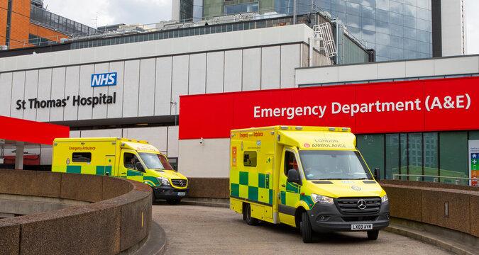 Ambulances at St Thomas Hospital in London