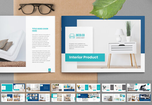 Product Catalog Layout with Turquoise Accents