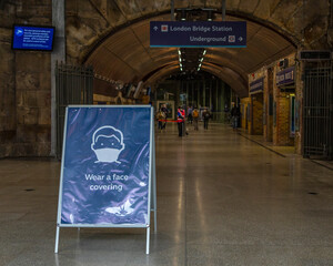 Wear a Face Covering Sign at London Bridge Station