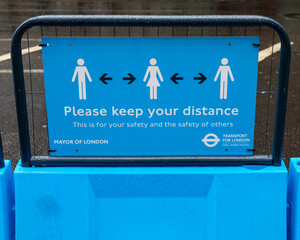 Please Keep Your Distance Sign in London