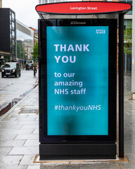 Thank you NHS Message on a Bus Stop in London
