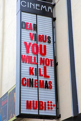 Message to the Coronavirus on a Cinema in London