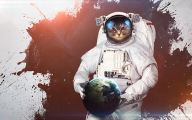 Wall Mural - Cat Astronaut holding Earth