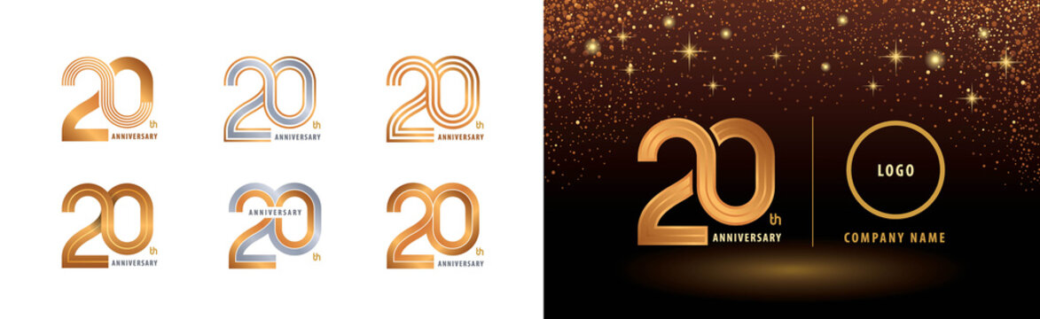 Set of 20th Anniversary logotype design, Twenty years anniversary celebration
