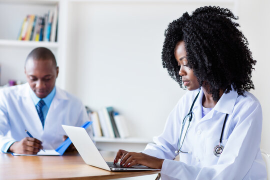 African american medical student at computer with male doctor