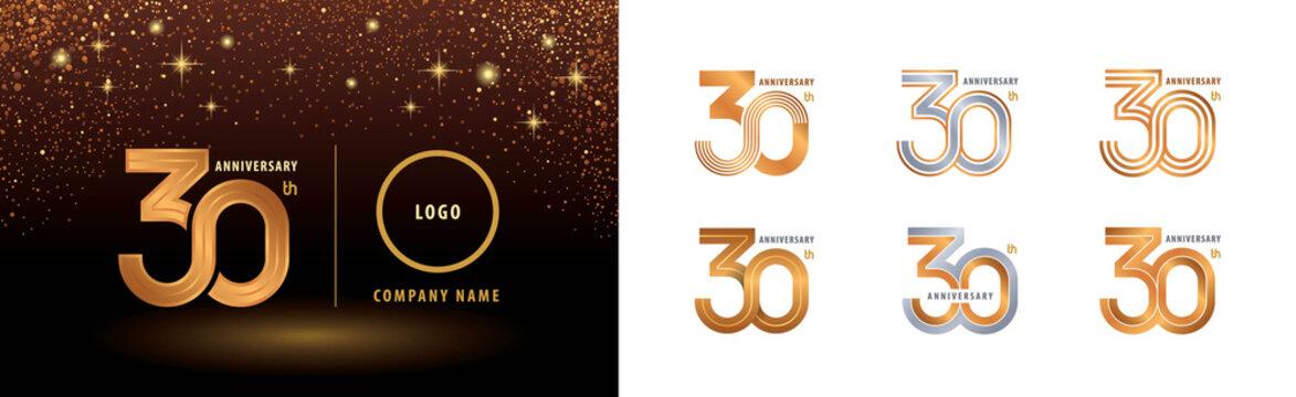 Set of 30th Anniversary logotype design, Thirty years anniversary celebration