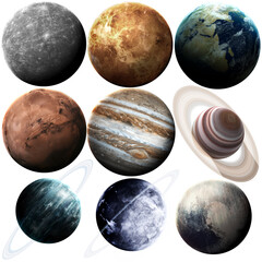 Wall Mural - Isolated set of planets in the solar system