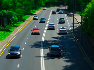 Counterpart transportation lanes on the highway background
