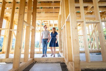 Couple make their dreams of building their own home come true visiting house under construction