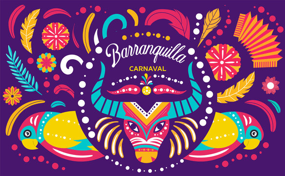 Colorful poster for the Colombian Barranquilla Carnival steeped in folklore and one of the largest in the world, colored vector illustration