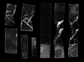 Obraz set of transparent adhesive tape or strips isolated on black background, crumpled plastic sticky snips, poster design overlays or elements. - fototapety do salonu