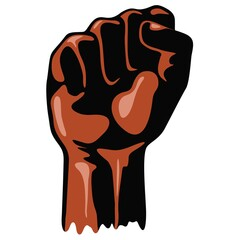 Door stickers Draw Black Power Raised Fist Symbol Slogan Vector Illustration