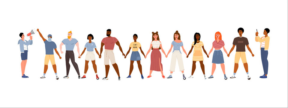 Stop racism. Black lives matter, we are equal. No racism concept. Flat style. Protesting people. Different skin colors. Vector illustration. Isolated.